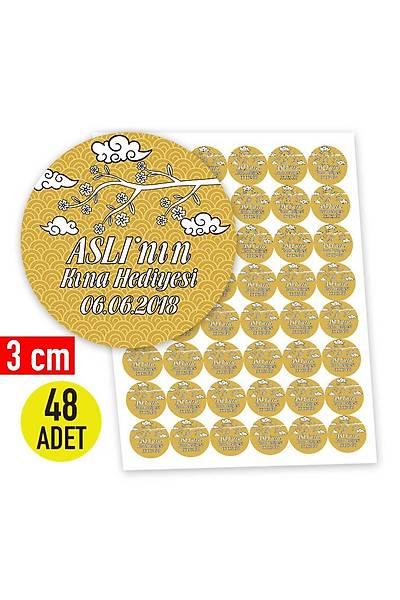 3 cm Yuvarlak Etiket - 48 adet - Gold Temalý