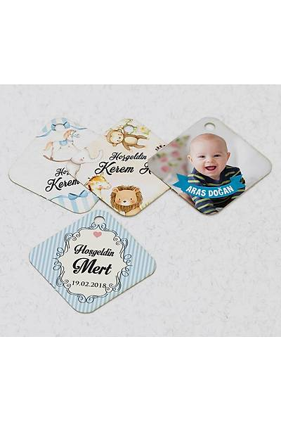 3 cm Baklava Karton Etiket - 70 adet - Erkek Bebek