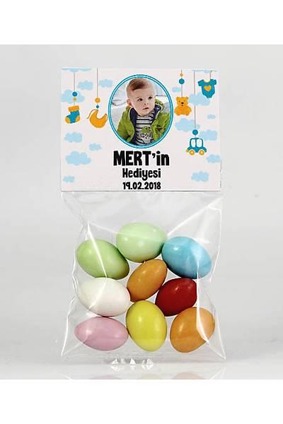 Renkli Çikolatalý Badem - Fotoðraflý Mavi Temalý Bebek - Oyuncaklý