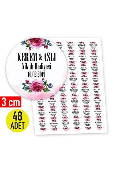 3 cm Yuvarlak Etiket - 48 adet - Pembe Çiçek