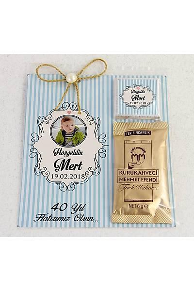 Ýnci Detaylý Kahve ve Çikolatalý Erkek Bebek Hediyesi - Çerçeveli Fotoðraflý
