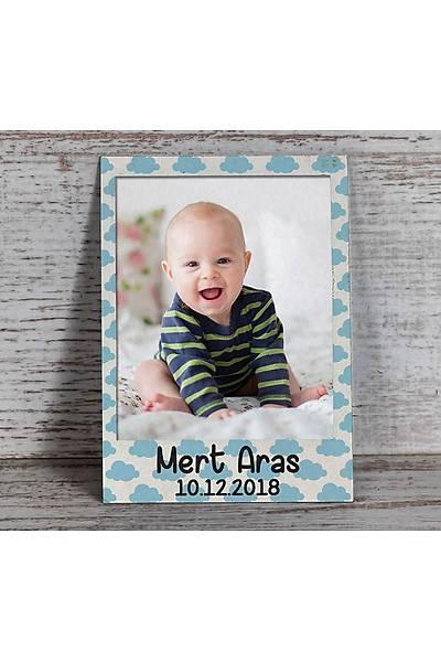 Mavi Temalý Fotoðraflý Magnet - Polaroid Çerçeve
