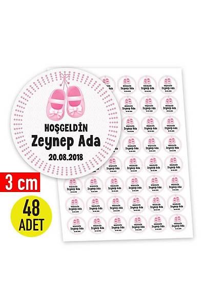 3 cm Yuvarlak Etiket - 48 adet - Pembe Patik