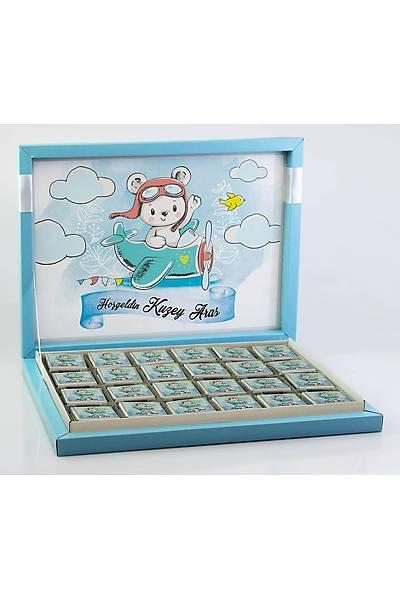 Erkek Bebek Çikolatasý - Kutulu - Pilot Ayýcýk