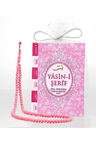 PEMBE 3'lü Yasin Seti / Tül Kese + Tespih