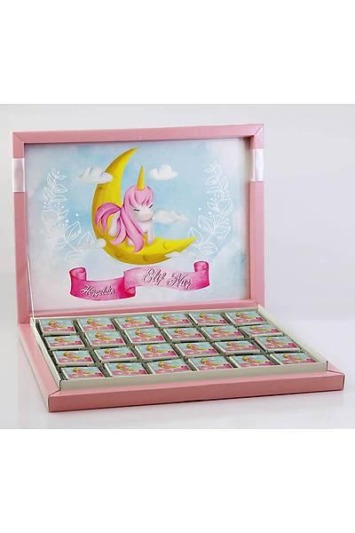 Kýz Bebek Çikolatasý - Kutulu - Unicorn ve Ay