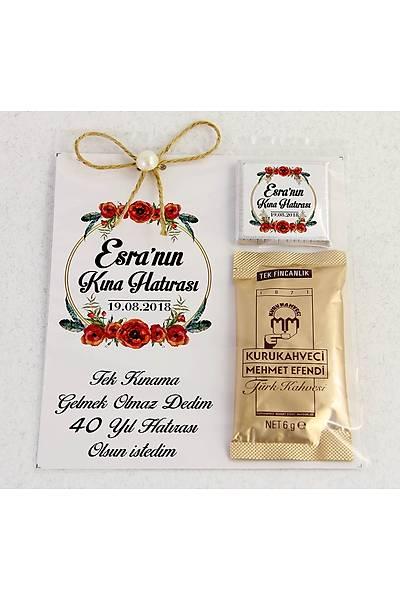 Ýnci Detaylý Kahve ve Çikolatalý Söz, Niþan, Kýna Hediyesi - Gelincik