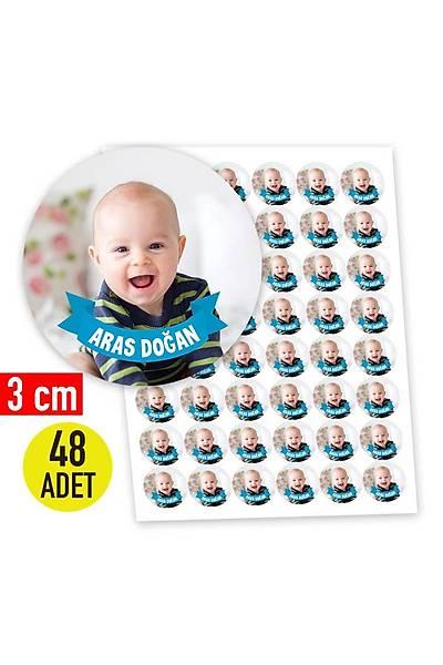 3 cm Yuvarlak Etiket - 48 adet - Fotoðraflý Mavi Ýsimlik