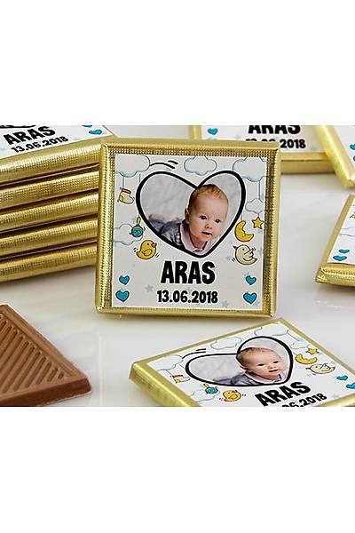 Erkek Bebek Dökme Çikolata - Fotoðraflý Kalp