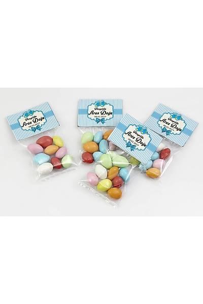 Renkli Çikolatalý Badem - Mavi Temalý Bebek - Patik