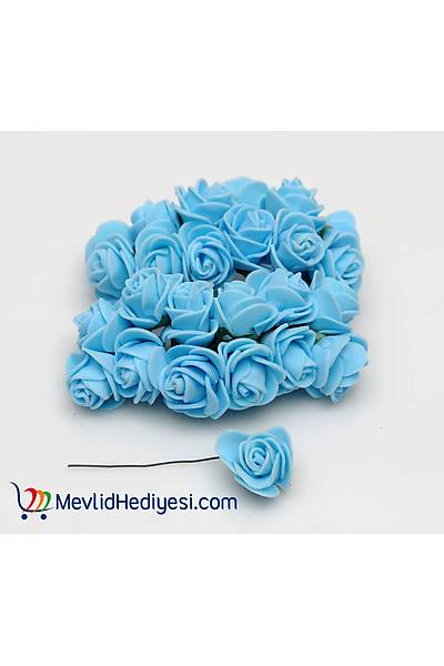 Mavi, Lateks Gül, 1.5 Cm - 12 Adet