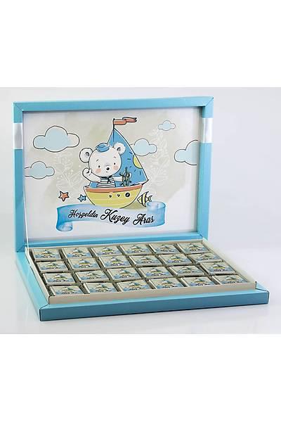 Erkek Bebek Çikolatasý - Kutulu - Denizci Ayýcýk