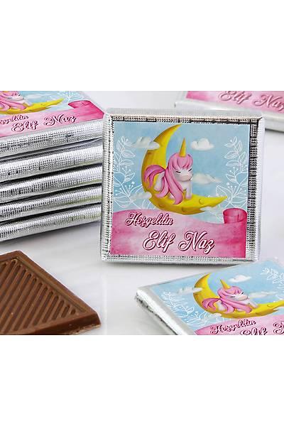Kýz Bebek Dökme Çikolata - Unicorn ve Ay
