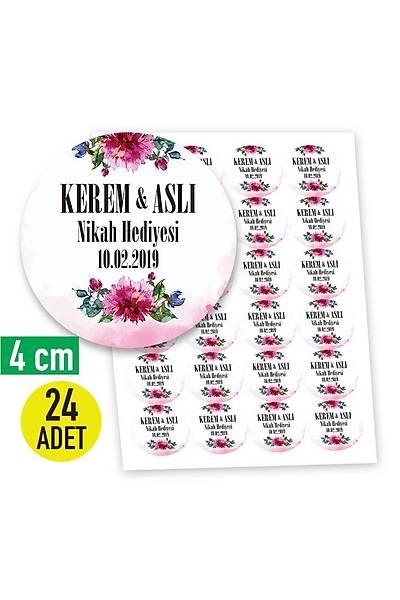 4 cm Yuvarlak Etiket - 24 adet - Pembe Çiçek