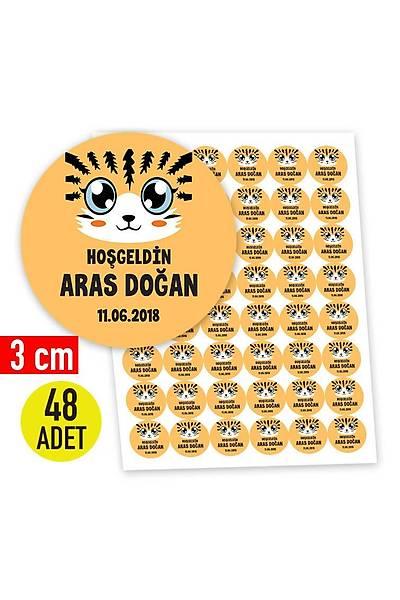 3 cm Yuvarlak Etiket - 48 adet - Kaplan Karakter