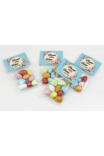Renkli Çikolatalý Badem - Kýna, Nikah - Güllü, Mavi Temalý
