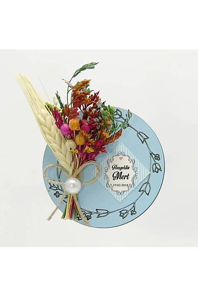 Çiçek Buketli Kanaviçe Nikah-Bebek Þekeri, Mavi Ahþap