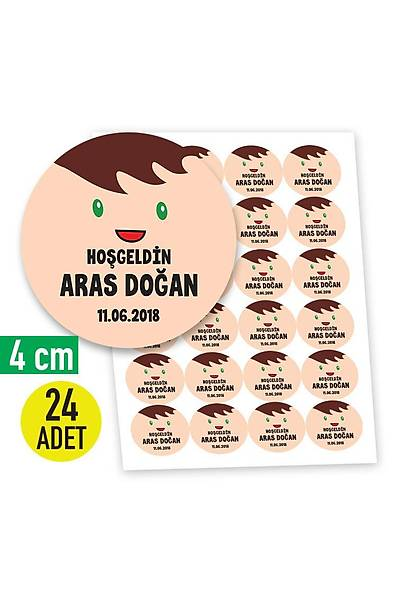 4 cm Yuvarlak Etiket - 24 adet - Erkek Karakter