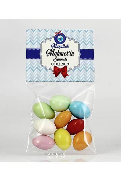 Renkli Çikolatalý Badem - Mavi Temalý Bebek - Sünnet