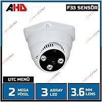 8 ADET ALANA 2 ADET HEDÝYE Safecam PM-3720 MP F33 SENSOR  3 Array Led 3.6 MM Lens  AHD  Dome Kamera -1739S