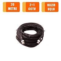 20 Metre 2+1 Fabrikasyon Hazýr Cctv Kablo / 1143