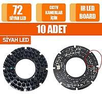 10 ADET 72 IR Led Board  Siyah /  11777S-10