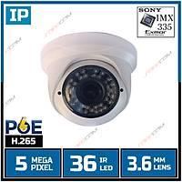 Safecam IC-3499-POE  5 MP 36 Led 3.6 MM Lens SONY IMX335 Sensor POE'li Plastik Dome Kasa H.265 IP Kamera - 1860S-POE