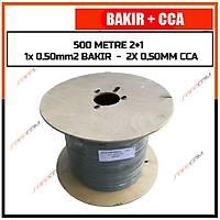 500 Metre 2+1 Cctv BAKIR+CCA Kablo (1x 0.50 BAKIR + 2x 0,50 mm CCA) / / 1341