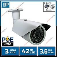 Safecam IC-6188 3 MP 42 Led 3.6 MM Lens SONY IMX307 Sensor Metal Kasa H.265 IP Kamera - 1820S-POE