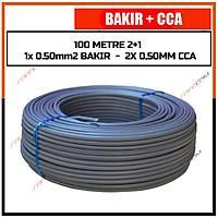 100 Metre 2+1 Cctv BAKIR+CCA Kablo  (1x 0.50 BAKIR + 2x 0,50 mm CCA) / 1829
