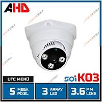 Safecam PM-3721  5 MP AHD 3 Array  Led 3.6mm Lens Plastik Dome  / 1818s