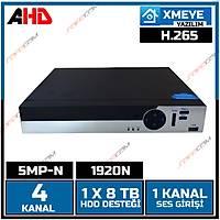 Safecam VR-AHX50401 4 Kanal 5MP-N 1920N AHD DVR KAYIT CÝHAZI XMEYE -H265 / 1801S