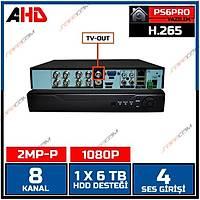 Safecam HVR -P08 2MP-P 1080P 8 KANAL P6 AHD H265 DVR Kayit Cihazý / 1762S