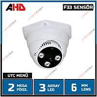 Safecam PM-3720 MP F33 SENSOR  3 Array Led 3.6 MM Lens  AHD  Dome Kamera -1739S-6MM