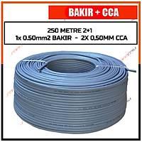 250 Metre 2+1 Cctv BAKIR+CCA Kablo  (1x 0.50 BAKIR + 2x 0,50 mm CCA) / 1830