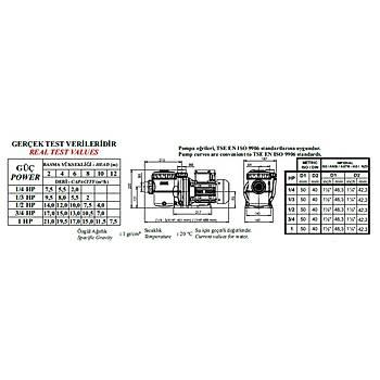 Nozbart Hamsi Serisi 3/4 HP  Monofaze Havuz Motoru
