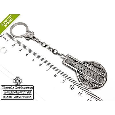 İsimli Midyat El İşi  Testi Model Oksitli Telkari Gümüş Anahtarlık