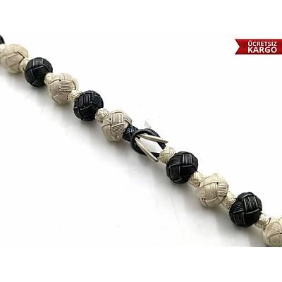 Siyah Beyaz 1000 Ayar Gümüþ Kazaziye Bileklik (STOK KODU: 20173305)
