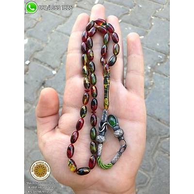 1000 Ayar Kazaziye Kamçýlý Full Hareli Sýkma Ateþ Kehribar Tesbih (STOK KODU: 20132329)