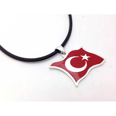 Ayyýldýz Tasarým Bayrak Model Erkek Kolye Ucu (STOK KODU: 20130862)