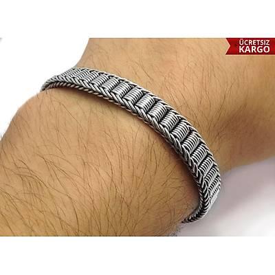 Silindir Kilit Örme Model 925 Ayar Erkek Gümüþ Bileklik (STOK KODU: 20137702)