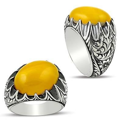 Sarı Kehribar Taşlı Tarz Tasarım Erzurum El işi Gümüş Erkek Yüzük (STOK KODU: 20129472)
