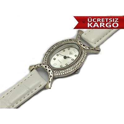 Zirkon Taþlý Beyaz Deri Kordonlu 925 Ayar Gümüþ Bayan Saat,(STOK KODU: 20170788)