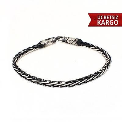 Unýsex Halat Model 1000 Ayar Oksitli Kazaz El Örmesi Gümüþ Bileklik  (STOK KODU: 20138156)