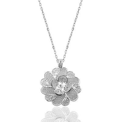 Çiçek Model Telkari Gümüþ Bayan Kolye (Kod: 2020421C)