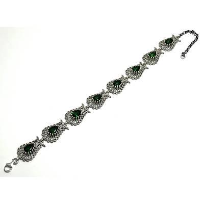 Zümrüt Taşlı Lale Model Gümüş Telkari Bayan Bileklik (STOK KODU:20172426)