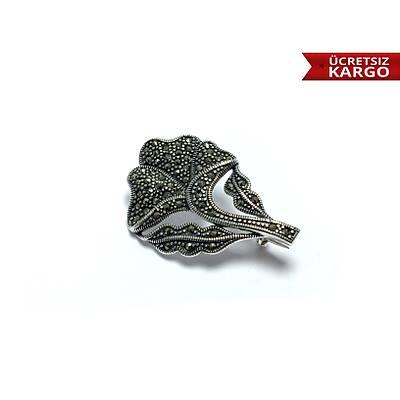 925 Ayar Markazit Taþlý Gümüþ Yaka Ýðnesi Broþ(STOK KODU:20171337)