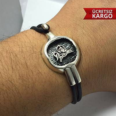 Osmanlý Tuðralý Deri Kordonlu 925 Ayar Erkek Gümüþ Bileklik (STOK KODU: 20170149)