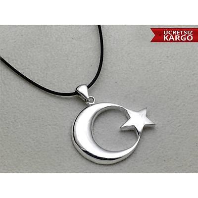 925 Ayar Gümüþ Ay Yýldýz Erkek Kolye Ucu(STOK KODU:20172634)