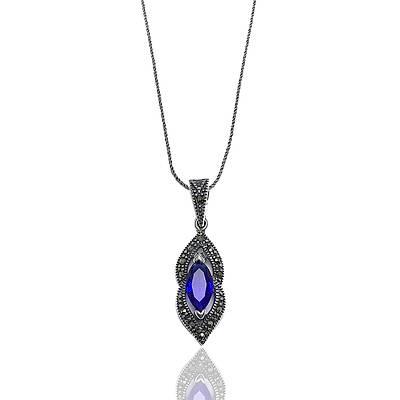 Safir Taşlı gümüş Bayan Markazit Üçlü set (kod 2020244)